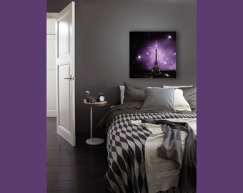 Purple Bedroom Wall Art, Eiffel Tower Print on Canvas, Paris, Large Canvas Wall Art, Black, Purple, Starry Night Sky