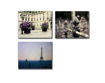 SALE, Paris Photography on Canvas, Set of 3 Prints on Canvas, Purple, Cream, Bedroom Wall Art Canvas Decor