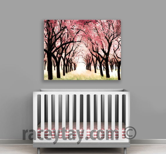 Cherry Blossom Canvas, Large Canvas Art, Pink, Baby Girl Nursery Decor, Cherry Trees Wall Art Canvas