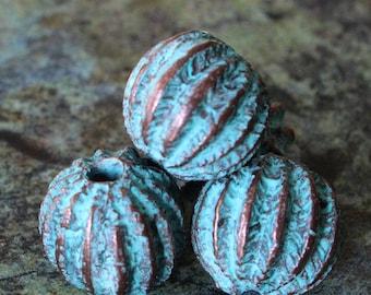 Mykonos Beads - Green Patina Beads Sea Urchin Beads - Made In Greece - Jewelry Making Boho Supply - Greek Beads - 13x11mm -  Choose Amount
