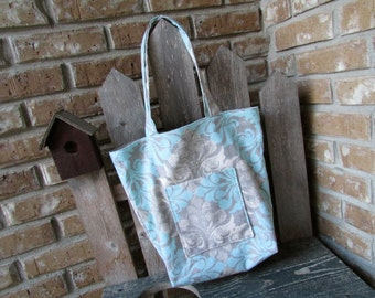 Market Tote in Soft Blue and Gray Damask Fabric Shopping Bag Grocery Bag
