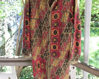 Vintage Tapestry floor length cardigan/ jacket/ sweater 60s/70s vibe