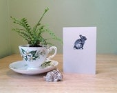 Bunny note card. Eco friendly recycled notecard with bunny drawing, and rabbit facts on back. Bunny stationery card.