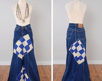 Vintage LEVIS handmade denim patchwork skirt / Levis 517 dark denim / 26 inch waist