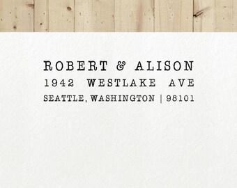 Return Address Stamp, Typewriter Stamp - Style #28, Wood Mounted or Self-Inking, Gift for Men, Personalized Stamp, Custom Stamp