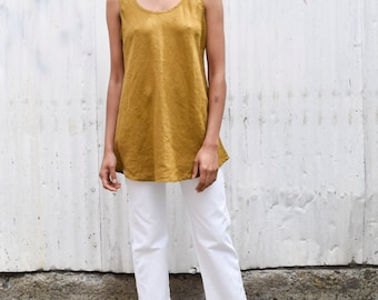 Vintage FLAX Linen 1990's Goldenrod Sleeveless Tunic Tent Tank Top Blouse S/M