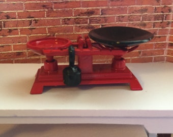 Miniature Scale With Weight, Metal Vintage Inspired Store Scale, Red 1:12 Dollhouse Scale