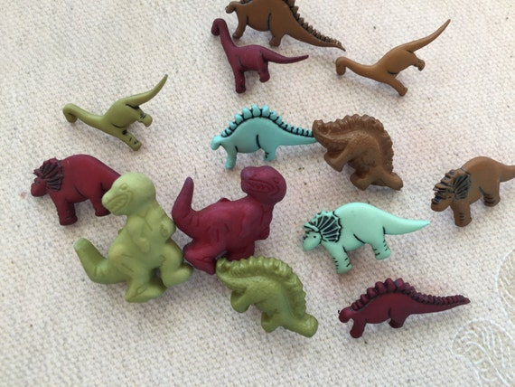 "Dinosaur Buttons, Novelty Button Assortment Package by Buttons Galore, ""Dinosaurs"" Style 4081, Shank Back Buttons, Crafting, Sewing"