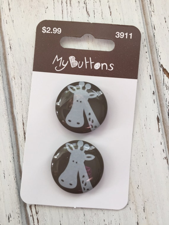 Giraffe Buttons Carded Set of 2 With Brown Background My Buttons Collection by Button Lovers #3911