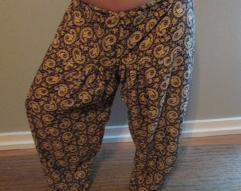 Vintage Blue & Gold Paisley Harem Pant bellydance belly dance bollywood bhangra ATS tribal fusion
