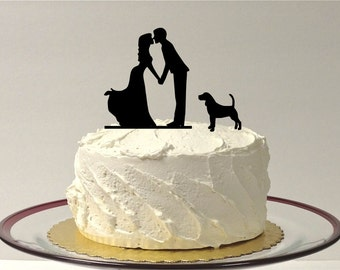 Kissing Couple Silhouette Wedding Cake Topper with Dog Pet Family of 3 Wedding Cake Topper Bride and Groom Cake Topper