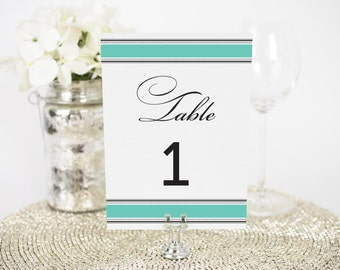 "Vintage Wrap Wedding Table Numbers - 4x6"", Any Color - Decorative, Party Decoration, Script"