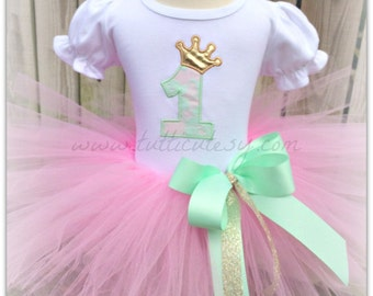 MInt Gold and Pink Birthday Tutu Outfit