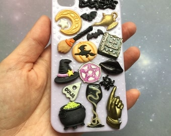 SALE iPhone 4 case Halloween, Embellished, Decoden, Witch, Book of Spells,