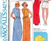 1970s Wide Leg Jumpsuit Pattern - Vintage McCall's 5421 - Bust 36 UNCUT FF Brimmed Hat