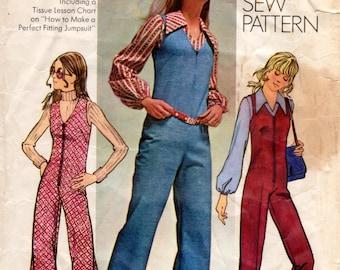 1970s Sleeveless Jumpsuit Pattern - Vintage Simplicity 9624 - Bust 36