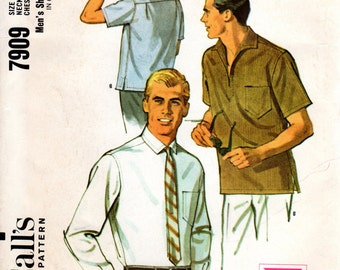 1960s Mens Shirt Pattern - Vintage McCall's 7909 - Chest 38 40 UNCUT FF Pullover Yoke Shirt