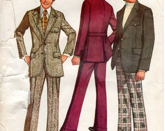 1970s Men's Suit Pattern - Vintage Simplicity 5161 - Chest 40