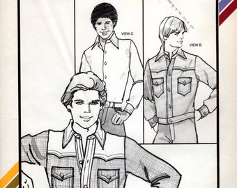 1970s Boys' Western Shirt Jacket - Vintage Pattern Stretch & Sew 1864 - Chest 28 to 35 UNCUT