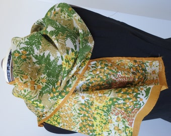 "Vintage ECHO Silk Scarf - Shades of Green and Yellow Flowers and Leaves - 46"" x 15"" 100% Pure Silk"