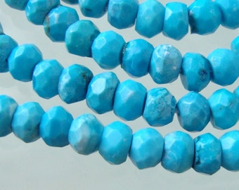 Turquoise Micro Faceted Rondelle Beads, 1/2 Strand - 8 Inch Strand - 4x2mm