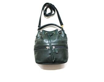 Vintage Bucket Bag / Forest Leather Bucket Bag / Drawstring Purse