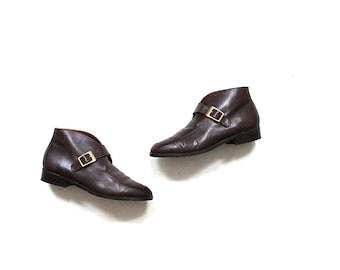 Vintage Ankle Boots 7 / Brown Leather Boots / Buckle Boots / Monk Strap Booties