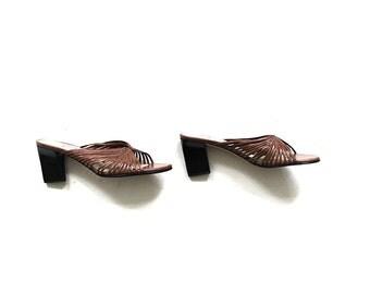 Vintage Leather Mules 9 / Brown Leather Mule Heels / Minimal Heels / Strappy Sandals