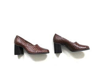 Vintage Block Heel Shoes 6.5 / Brown Leather Heels / Woven Leather Pumps / Chunky Heels