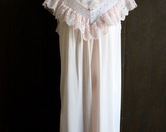 vintage pale pink satin nightgown / ruffles and lace nightie