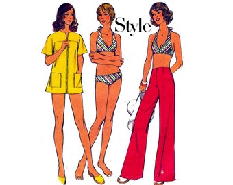Style 4678 Womens Swimwear Bikini Beach Cover Up & Hip Hugger Pants 70s Vintage Sewing Pattern Size 12 Bust 34 inches