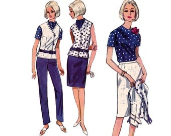 60s Jacket Skirt Blouse Capri Pants Pattern Butterick 3928 Vintage Sewing Pattern Size 14 Bust 34 UNUSED Factory Folded