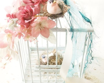 Shabby Chic Bird Cage. Cottage Romance Decor.  Love Birds . Victorian Style Wood Cage. Mint Green Pink