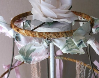 Bohemian Shabby Rustic Lamp Shade. Upcycled Rusty Salvage .Shabby Cottage Pink Green White Tattered Bows Ribbons Textile Garland Streamers
