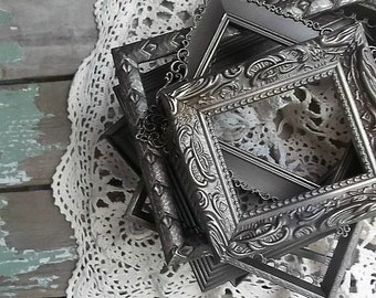 Pewter Painted Frames. Shabby Rustic Victorian Wedding Table Frames. set of 6  Antique Pewter Silver