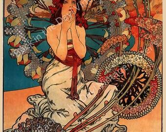 "Mucha, Vintage Reproduction Advertising Poster ""Monaco-Monte Carlo"" by Alphonse Mucha c1897"