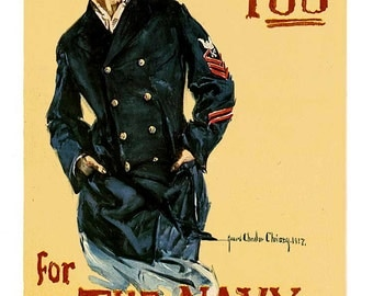 "Reproduction WWI Vintage ""I Want You for the Navy"" poster c1917"