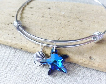 Adjustable Bangle Bracelet, Sea Shell Charm, Swarovski Ocean Bermuda Blue Crystal Starfish, Stainless Steel, Beach Jewelry, Beach Wedding