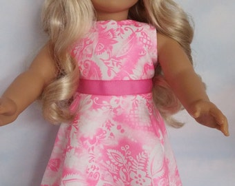 S A L E - 18 inch doll clothes - #212 Neon Pink Floral Gown handmade to fit the American girl doll - FREE SHIPPING