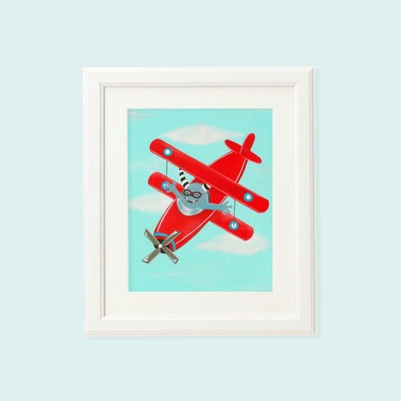 Airplane Wall Decor Nursery : Monster red airplane wall art for boys nursery unique
