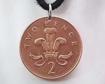 England Coin Necklace, 2 Pence, Coin Pendant, Leather Cord, Men's Necklace, Women's Necklace, 1994