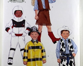 Butterick 3244, Children's Costume Pattern, Cowboy, Spaceman, Cowgirl and Fireman Sewing Pattern, Boy's and Girl's Pattern, Size 2-5, Uncut