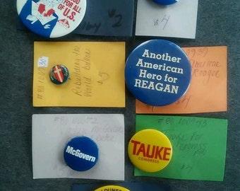 Vintage Lot of 7 Political Campaign Pins Reagan Bush Republican GOP