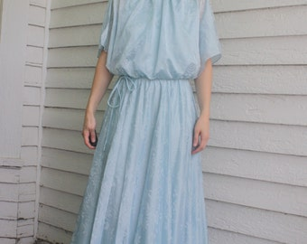 1970s Blue Maxi Grecian Dress Hippie Formal Gown Vintage 70s S