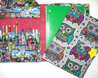 Lighthouse Town or Kaleidoscope Owls Quilted Fabric Portfolio with 12 Pencil Pockets,All Custom Made,Organizer Handmade,Drawing Sketh Book