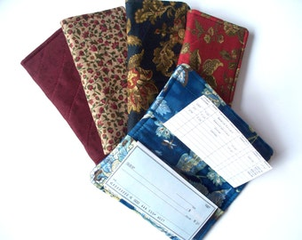 Quilted Checkbook Cover,Your Choice of Blue Paisly,Navy Paisly or Burgundy Paisly Flowers,Country Flowers Standard Checkbook Cover Durable