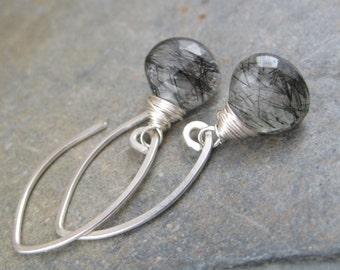 Rutilated Quartz Briolette Earrings - Faceted Tear Drops -  Sterling Silver Hook Earrings