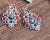 Colorful Flourish Drops, Boho Chic, Handmade Jewelry