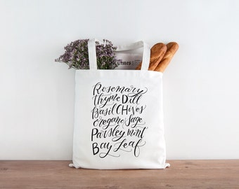 Market Herb Screen Printed Canvas Tote Bag - Calligraphy Hand-lettered canvas reusable shopping bag