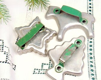 Vintage Cookie Cutters with Green Handles - Set of 3 - Metal Aluminum - Horse - Star - Christmas Tree - Christmas Kitchen